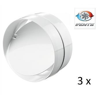 Backdraft Shutter / Coupler - für Ducting - (3 Pack) Lüfter - 100mm 4'' Runde PVC - Vent - Zurück Entwurf