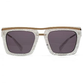 Hook LDN Chambers Metal Brow Square Premium Acetate Sunglasses In White Marble