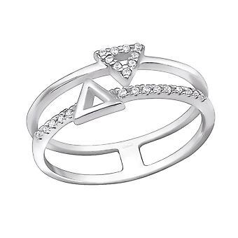 Triángulo de apilable - Jewelled de plata de ley 925 anillos - W30358X