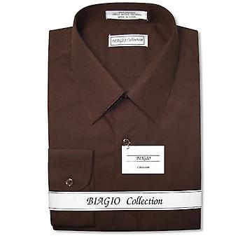 Biagio Men's 100% COTTON Solid Dress Shirt w/ Convertible Cuffs