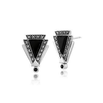 Gemondo Sterling sølv 0,7 ct Onyx, Spinel & Marcasite Art Deco Stud Øreringe