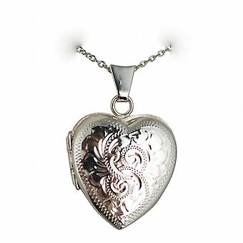 Silver 21x19mm hand engraved heart shaped Locket with a rolo Chain 24 inches