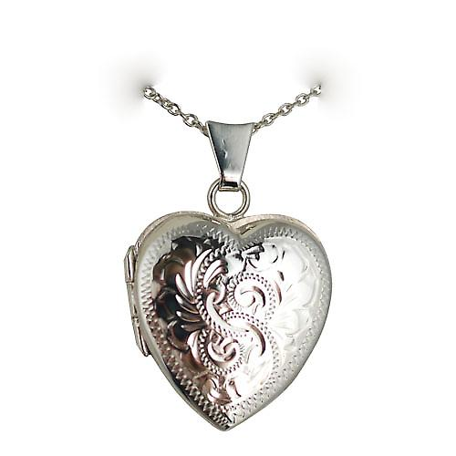 Silver 22x19mm hand engraved heart shaped Locket with a curb Chain 20 inches
