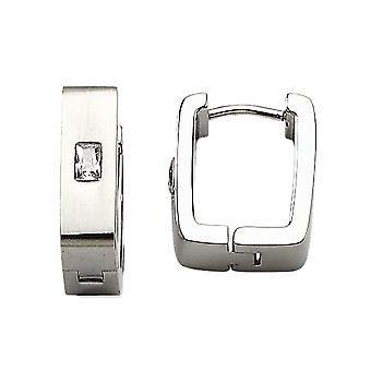 No Metal Stamp Stainless Steel White Synthetic Cubic Zirconia Hinged Square Hoop Earrings - 8mm