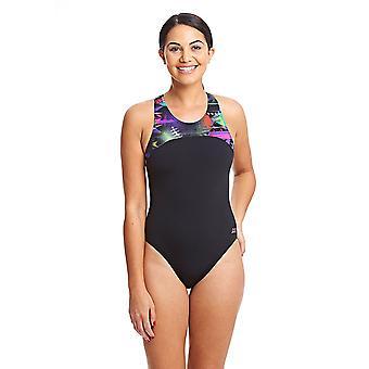 ZOGGS Women Arrow Zippedback Swimsuit - Black/Multi