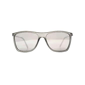 Freedom Polarised Tutea Flat Square Sunglasses In Frosted Crystal Grey Polarised