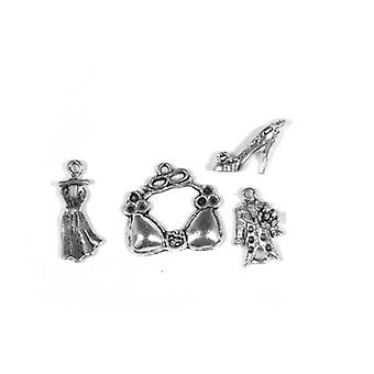 Packet 4 x Antique Silver Tibetan 19-25mm Girl Clothes Charm/Pendant Set ZX16760