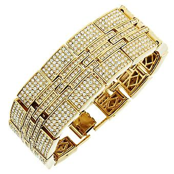 Iced out bling hip hop bracelet wristband - MILLIONAIRE gold
