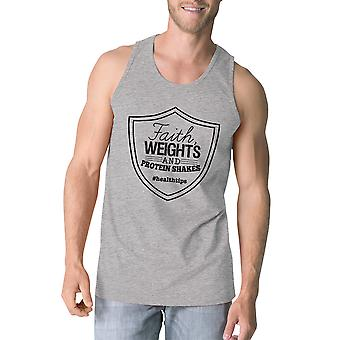 Faith Weights Mens Grey Funny Graphic Tank Top Lightweight Gym Gift