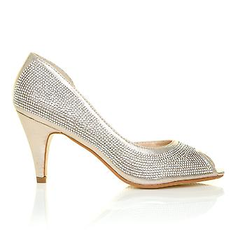 MAY Champagne Gold Shimmer Diamante Peep Toe Mid Heel Embellished Wedding Court Shoes