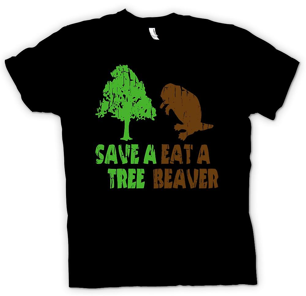 Mens T-shirt - Save A Tree, Eat A Beaver