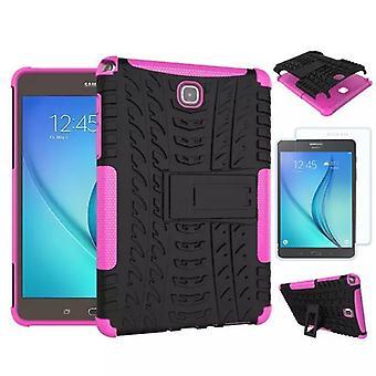 Hybrid Outdoor Tasche Pink für Samsung Galaxy Tab A 9.7 T550 + 0.4 Hartglas