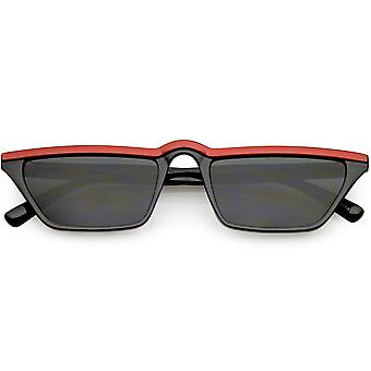 Retro Slim Rectangle Cat Eye Sunglasses Slim Arms Neutral Colored Lens 52mm