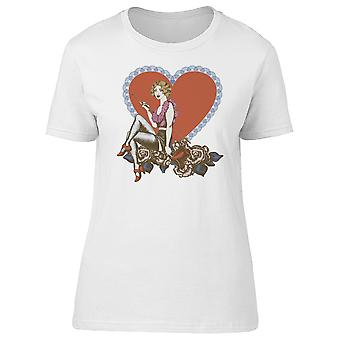 Lovely Cabaret Burlesque Lady Tee Women's -Image by Shutterstock