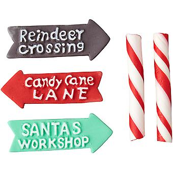 Candy Decorations 5Pcs-Candy Cane Sticks & Signs