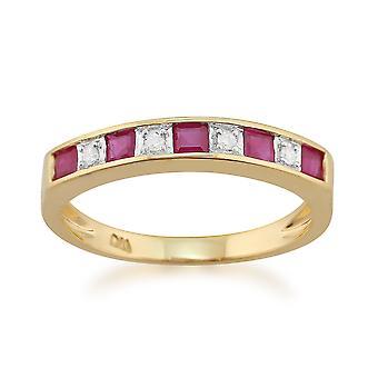 9ct oro giallo 0,44 ct Natural Ruby & Diamond mezza eternità anello