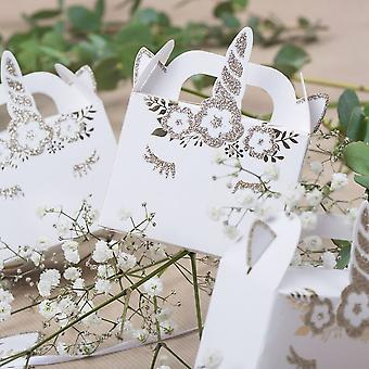 Golden Unicorn Party Gift Boxes x 8 Unicorn Themed Party