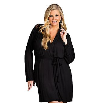 Womens Plus Size Soft Long Sleeve Short Lace Robe Sleepwear