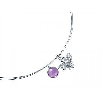 Gemshine - ladies - necklace - pendant - 925 Silver - BEE - bee - Amethyst - violet - purple - 45 cm
