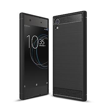 Sony Xperia XA1 TPU case carbon fiber optics brushed protective case black
