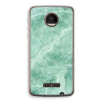 Motorola Moto Z Force transparant Case (Soft) - groen marmer