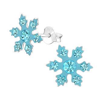 Snowflake - 925 Sterling Silver Crystal Ear Studs - W37652x