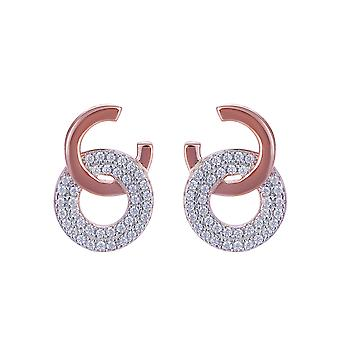 Orphelia Silver 925 Earring Rose with 2 Circles and Zirconium - ZO-7440