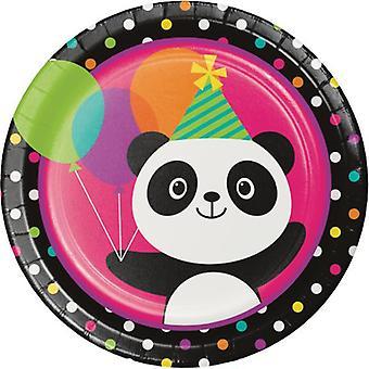 Panda plaat karton 23 cm 8ST Panda partij verjaardag Feestdecoratie