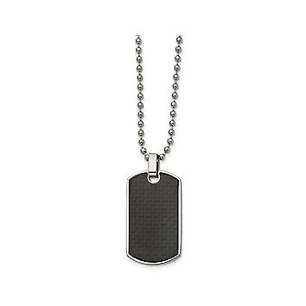 Mens Black Carbon Fiber and Wood Reversible Dog Tag Pendant Necklace in Stainless Steel with Chain