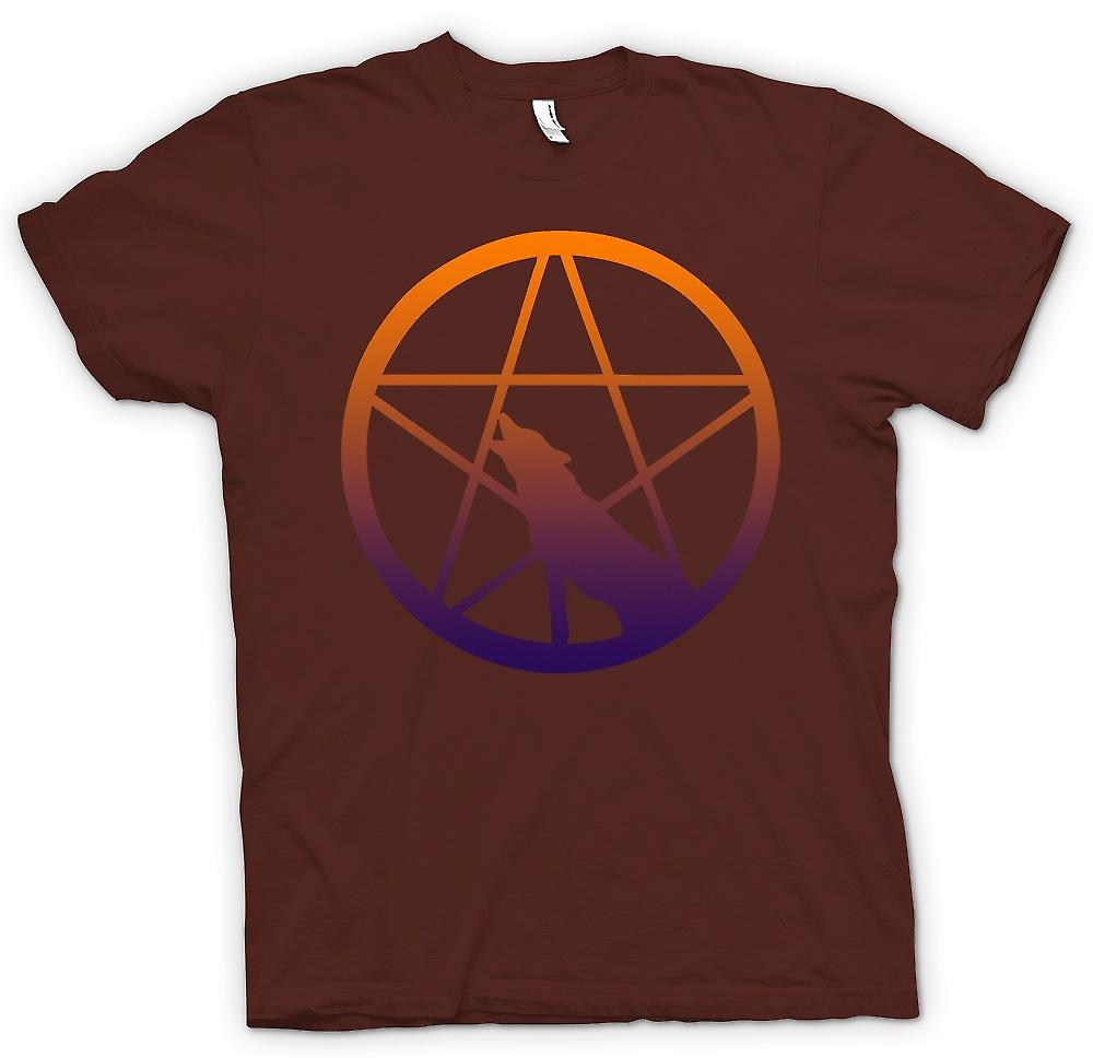 Mens T-shirt - Wolf Howling Pentagram
