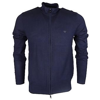 Emporio Armani Funnel Neck Zip Up Navy Knitwear Cardigan