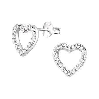 Heart - 925 Sterling Silver Cubic Zirconia Ear Studs - W3957X