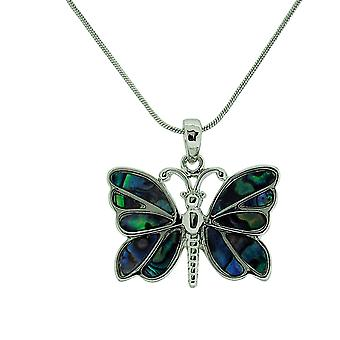 TOC Silvertone Natural Paua Shell Butterfly Pendant Necklace 18