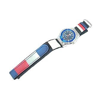Boxx Boys Blue and Red Striped Sports Athletic Easy Fasten Strap Watch