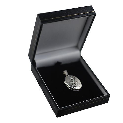 Sølv 27x20mm hånd gravert ovale medaljong