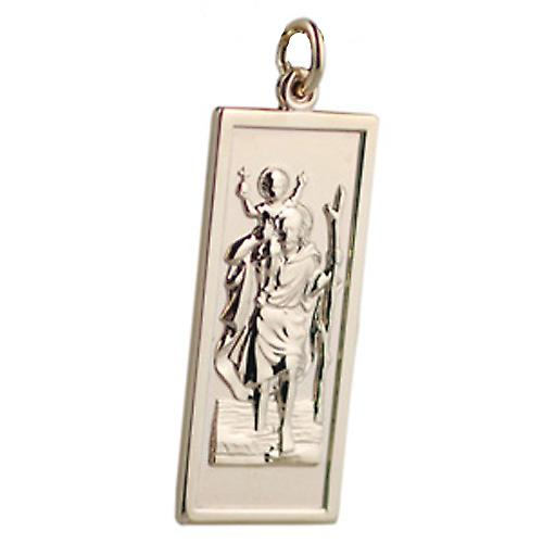 9ct Gold 35x15mm rectangular St Christopher Pendant