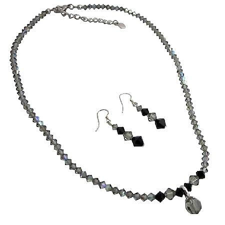 AB Black Diamond Swarovski Crystal Jet Crystals Cute Drop Necklace Set