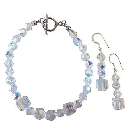 Bridal Bridesmaid Swarovski AB Crystals Bracelet Earrings Set