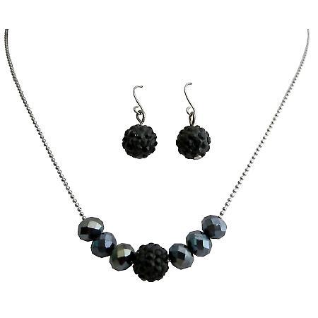 Contemporary Style Jet Pave Ball & Black Diamond Crystals Jewelry Set