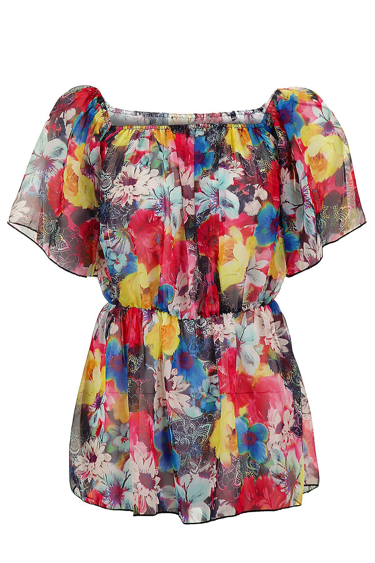 Ladies Short Sleeve See-Through Floral Print Summer Gypsy Women's Top