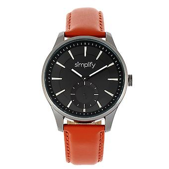 Simplify The 6600 Series Leather-Band Watch - Orange/Black