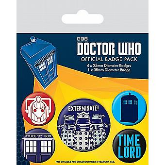 Doctor Who Exterminate! 5 round Pin Badges in Pack (py)