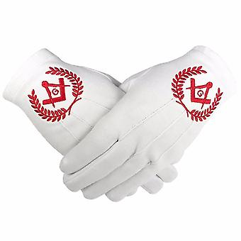 Masonic Regalia 100% Cotton Gloves Square Compass and G - Red