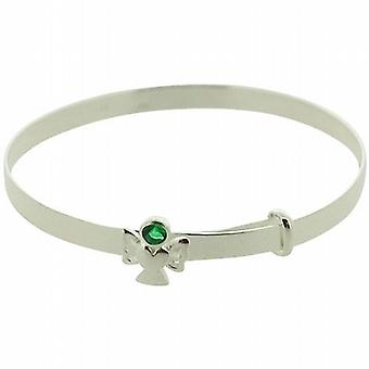 Jo For Girls 925 Sterling Silver May Birthstone Angel Emerald Color Bangle
