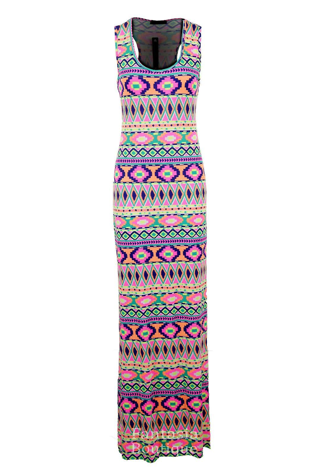 New Ladies Leopard Funky Fruit Print Multi Colour Maxi Bodycon Women's Dress