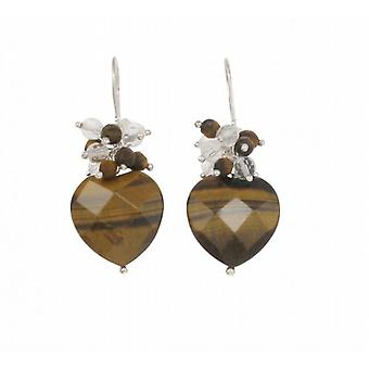 Cavendish French Sterling Silver and Tiger's Eye Drop Heart Earrings