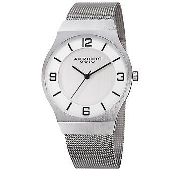 Akribos XXIV Men's AK851 Classic Dial Mesh Stainless Steel Bracelet Watch AK851SS