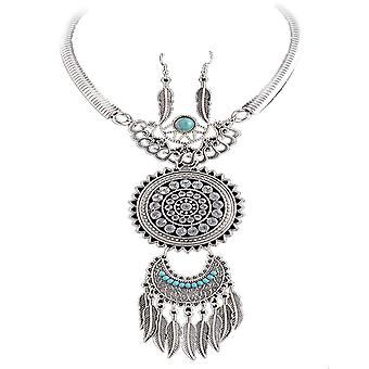 Dames colorées Dream Catcher style bijou & amp; boucle d'oreille serti collier en cristal Swarovski