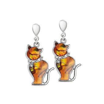 Eternal Collection Tabby Orange Paua Shell Silver Tone Cat Drop Clip On Earrings
