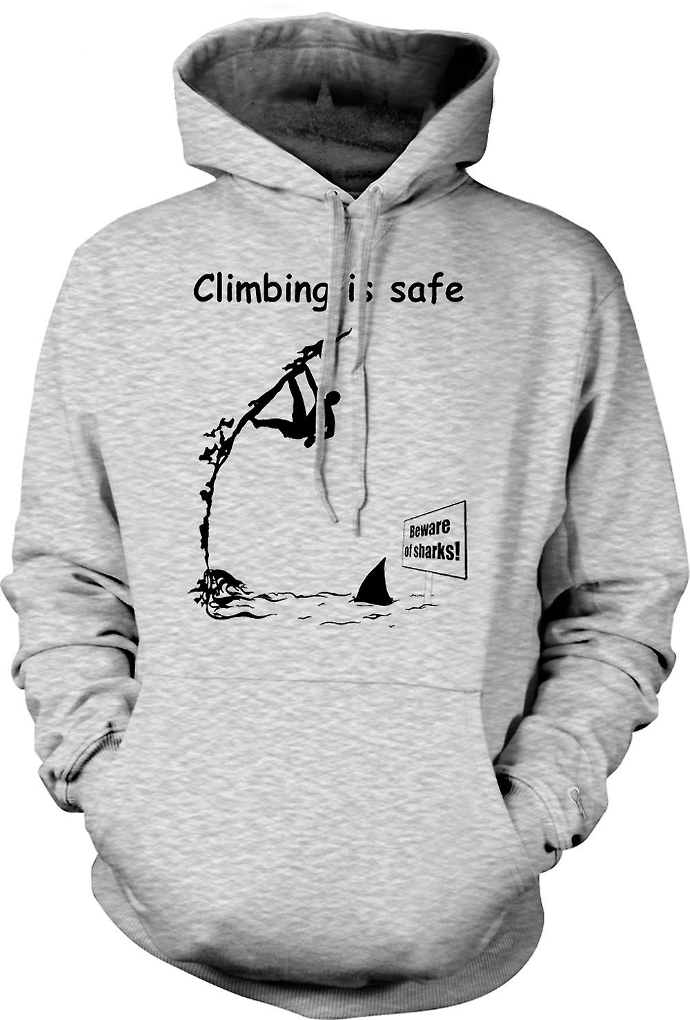Mens Hoodie - Climbing Is Safe - Beware Of The Sharks